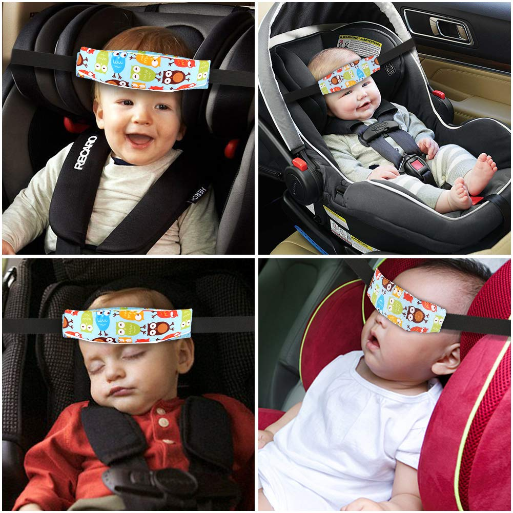 Atomcool 2 Pack Baby Car Seat Head Support Band Strap For Seats Stroller Headrest Sleeping