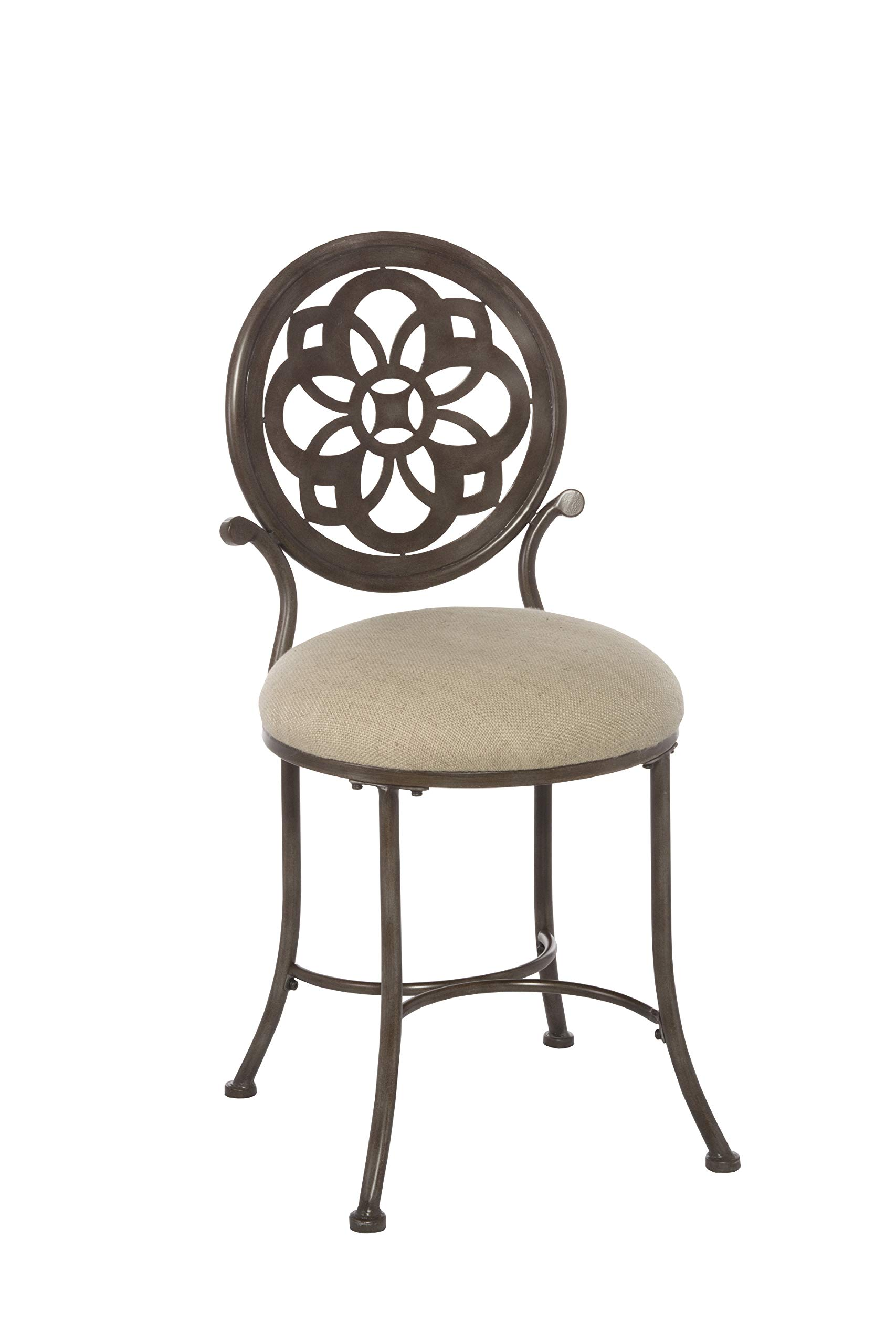 Hillsdale Furniture 50981 Marsala Vanity Stool, Gray with Brown highlighting with Cream Fabric