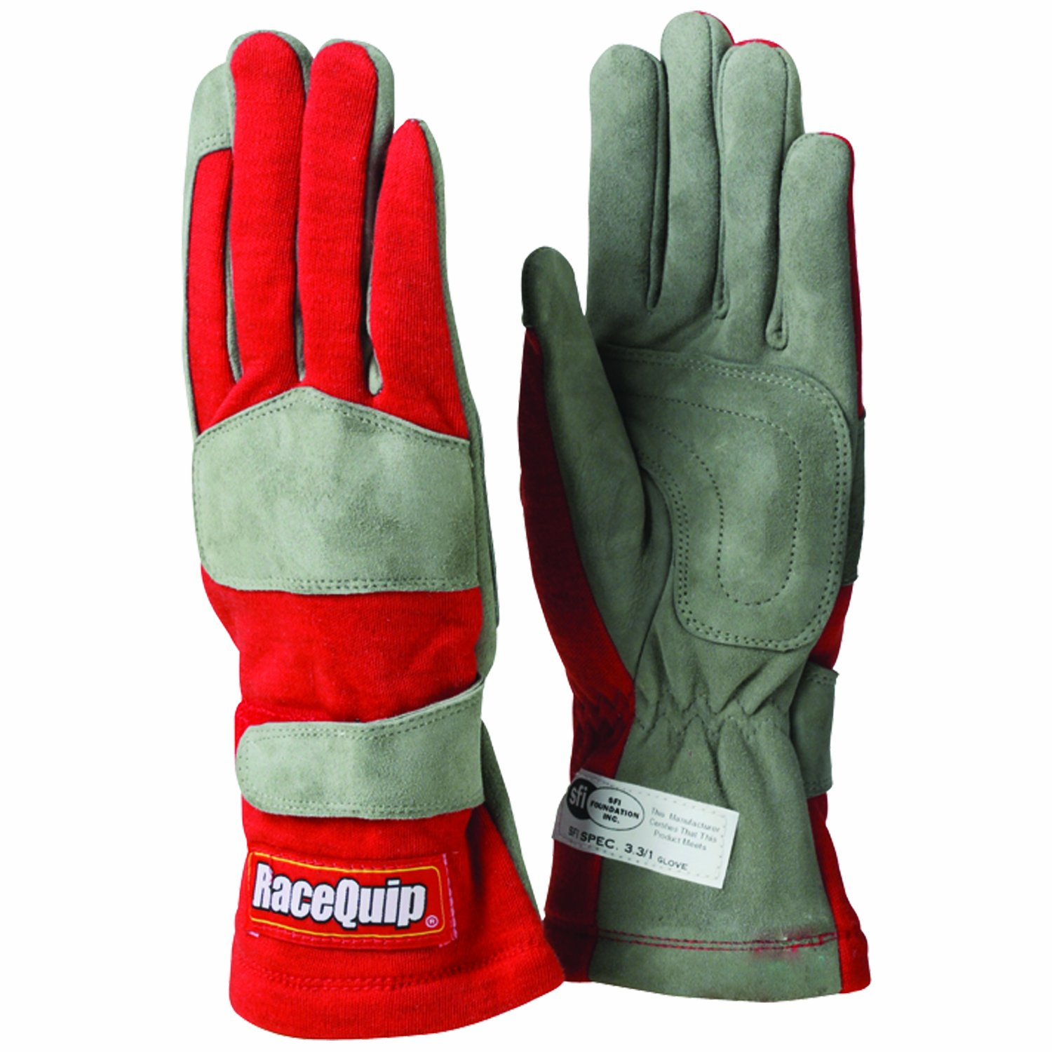 RaceQuip 351015 351 Series Large Red SFI 3.3//1 One Layer Racing Gloves
