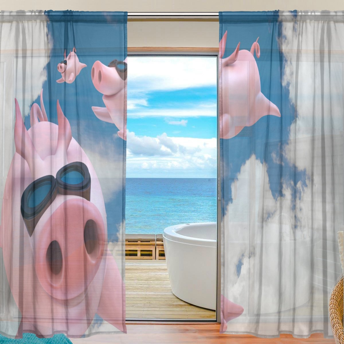 SEULIFE Window Sheer Curtain, Funny Animal Cute Flying Pig Voile Curtain Drapes for Door Kitchen Living Room Bedroom 55x78 inches 2 Panels