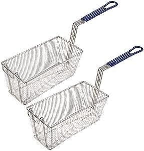 Deep Fryer Basket with Handle Commercial Restaurant Kitchen Chip Fish 13x6x6