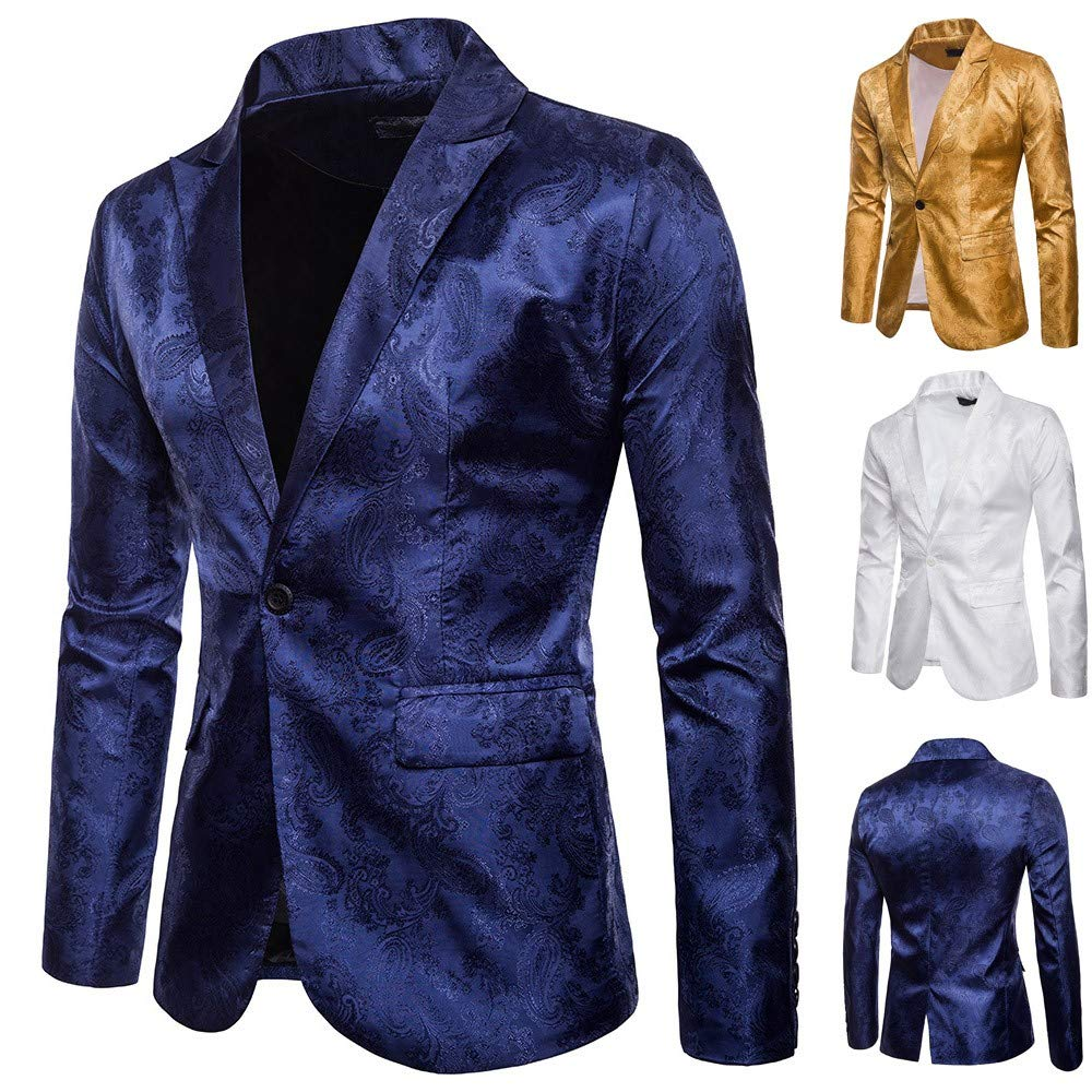 Mens Luxury One Button Classic Blazer Business Jacket Suits Slim Fit Single Breasted Vintage Retro Smart Formal Dinner Suits Jacket Waistcoat Size M-XXXL