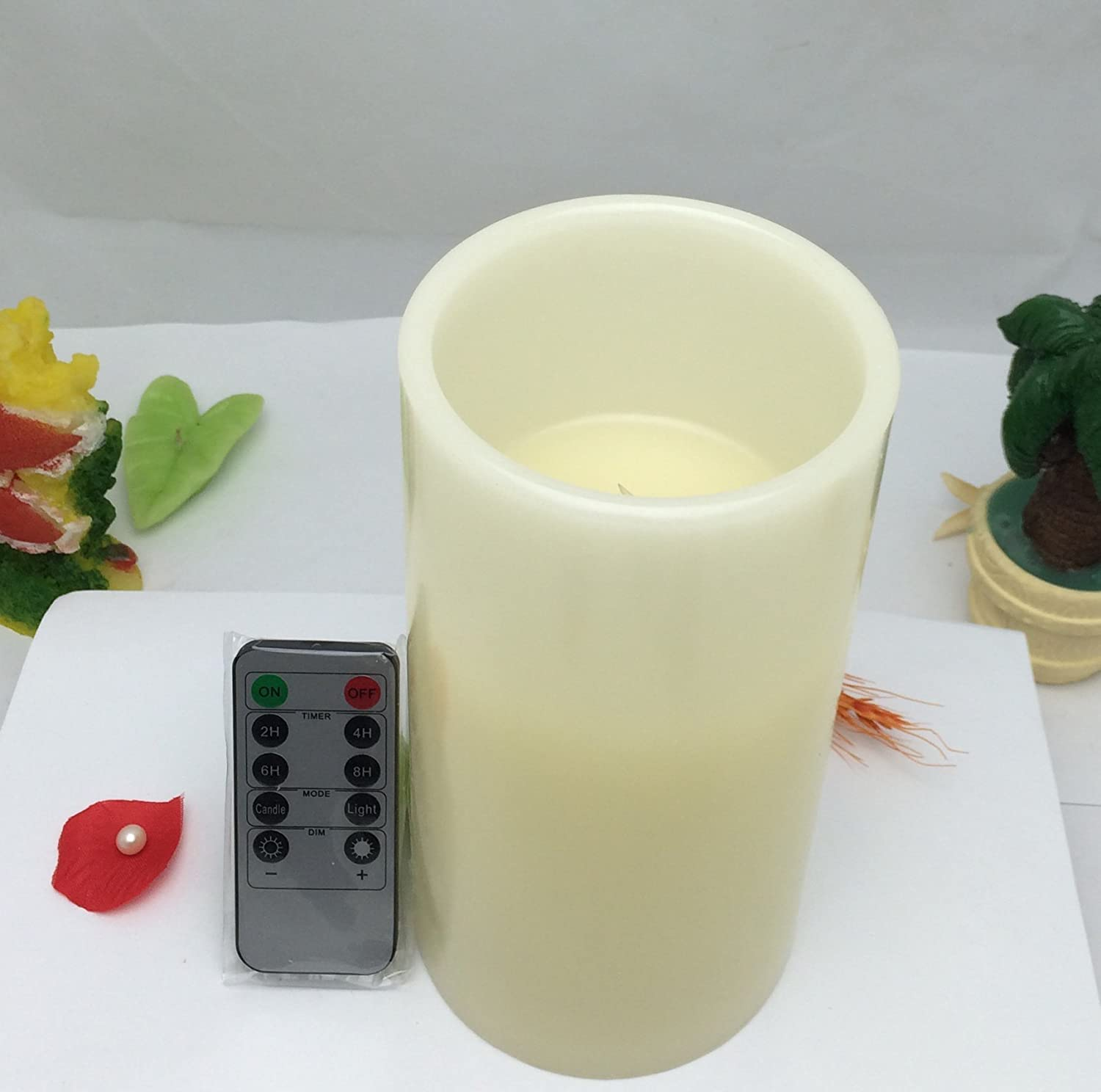 LargeアイボリーFlameless LED Candle with自動サイクル時間 – バニラ香りつきリモートバッテリーキャンドルセットの1 – 4 x 6inch B011DQUVPS