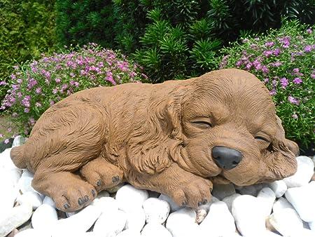 Steinfigur Hund Welpe Gartenfigur Gartendeko Geschenk Figur Steinguss Tierfigur