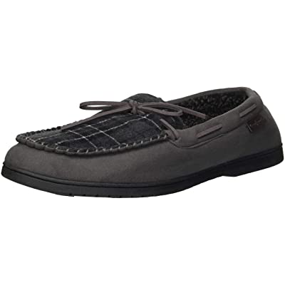 Dearfoams Men's Microsuede Moccasin with Tie Slipper, Pavement, XL Regular US | Slippers
