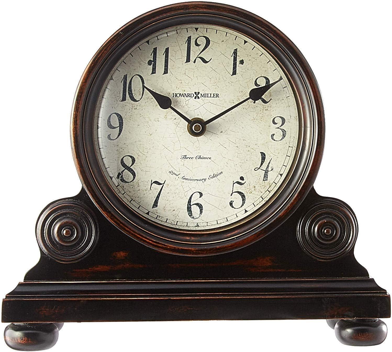 Howard Miller Murray Mantel Clock 635-150 Vintage Design with Quartz, Triple-Chime Movement