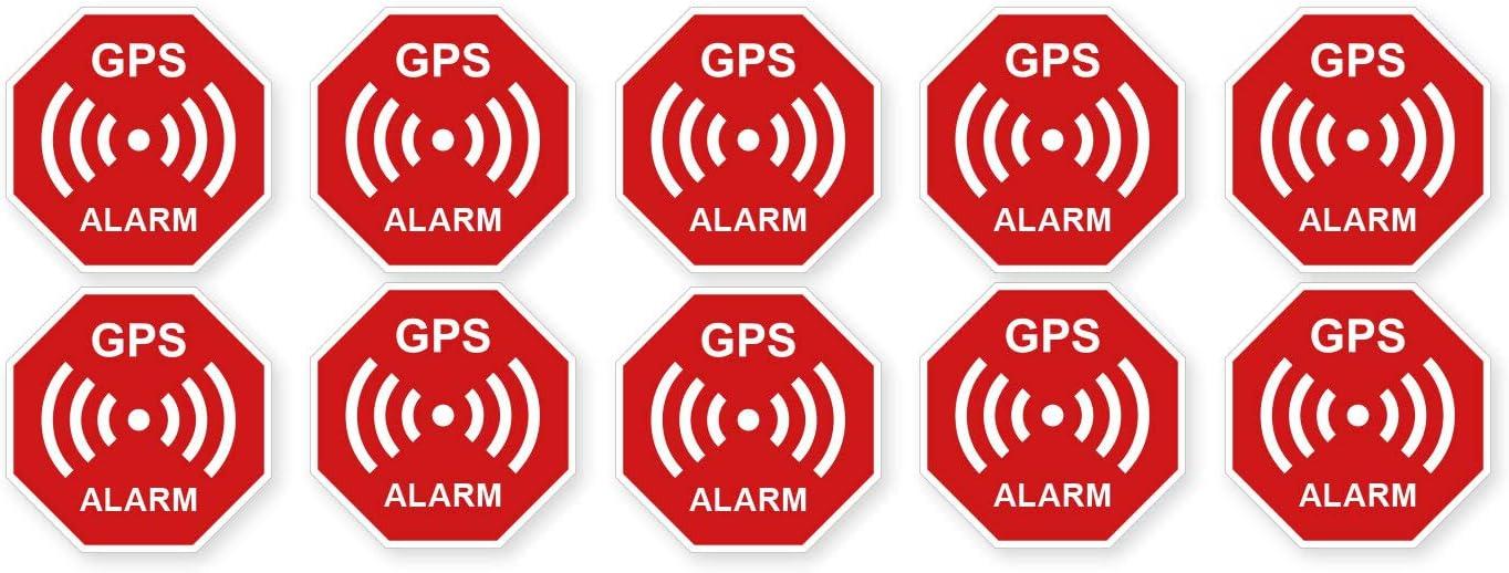 2 Premium Aufkleber GPS Alarm Sicherheit Hinweis Warnung Schild Rot Wetterfest UV-Best/ändig