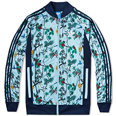 9406854038d Adidas Originals Men s Island Print SST Track Jacket - S19053 - Blue - XS