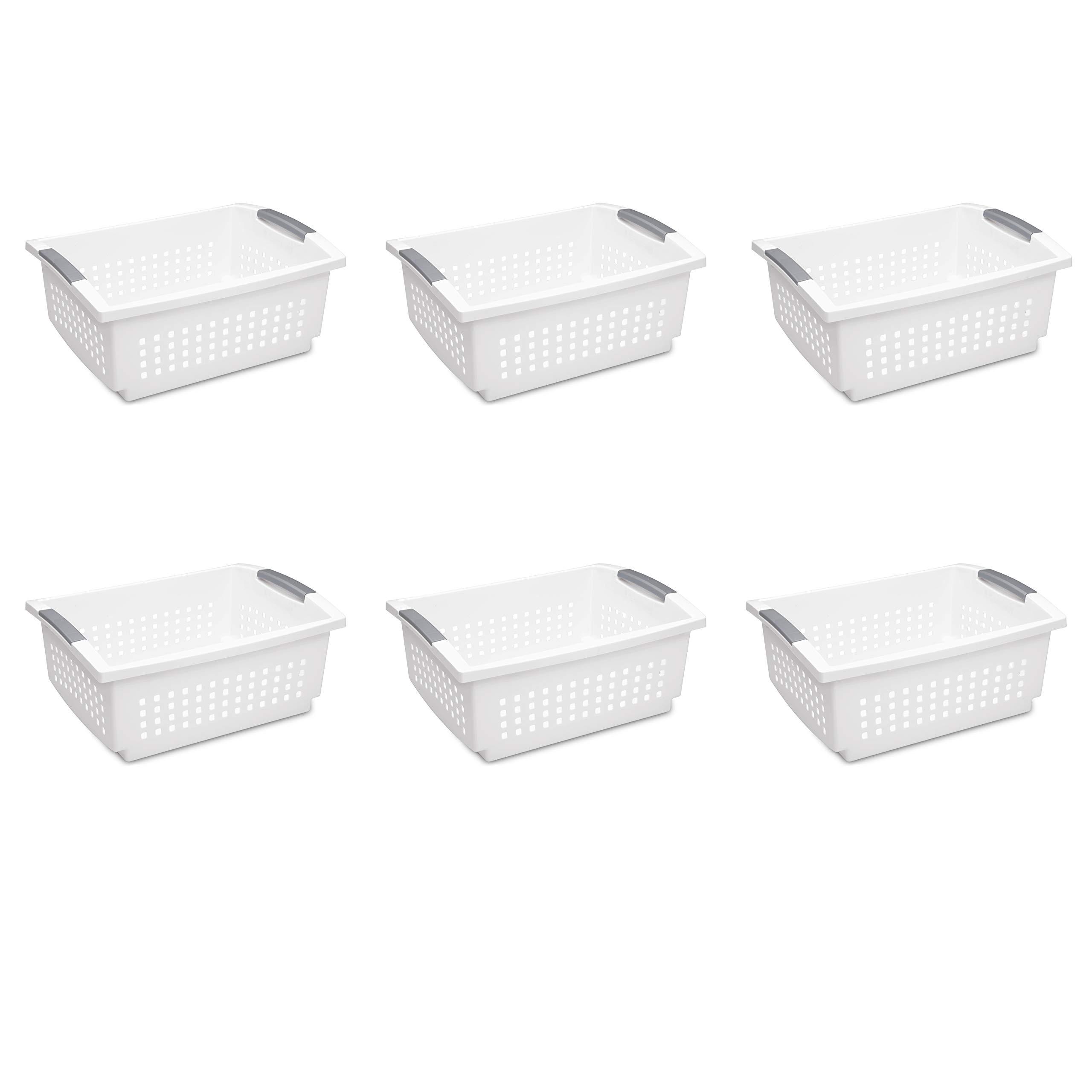 Sterilite 16648006 Large Stacking Basket, White Basket w/ Titanium Accents, 6-Pack by STERILITE
