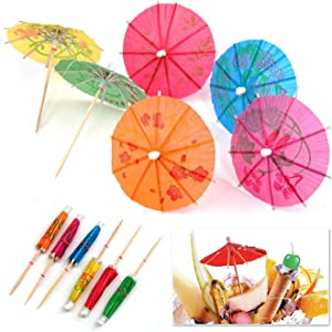 SHATCHI PCS 144 Umbrellas Wedding Summer Party Food Drink Decorations Picks Sticks Cocktail Accessories & Cocktail, Assorted