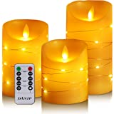 DANIP flameless Candle, with Embedded String Lights, 3-Piece LED Candle, with 10-Key Remote Control, 24-Hour Timer Function,