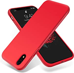 OTOFLY for iPhone XR Case, [Silky and Soft Touch Series] Premium Soft Silicone Rubber Full-Body Protective Bumper Case Compatible with Apple iPhone XR - Red