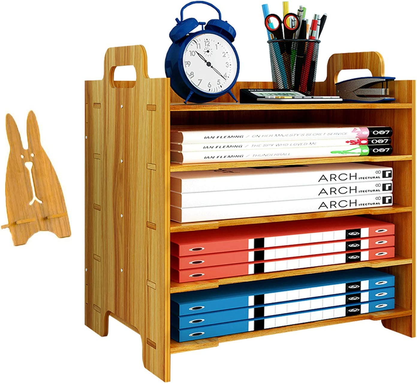 Marbrasse 5 Trays Wooden Desk File Organizer, Document Mail Paper Organizer Letter Tray Storage Shelf Sorter for Office Home Supplies (Cherry Color)