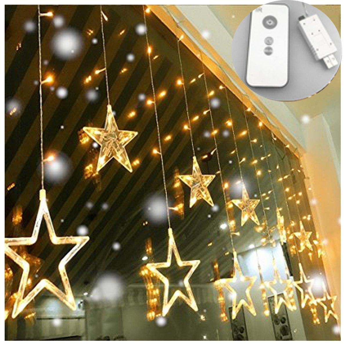 USB DC5V étoile Lumière Rideau de Noël LED , avec Télécommande 8 Mode Noël Guirlande Lumineuse Rideau Lumineux de Noël décoration lampe lumière blanc chaud