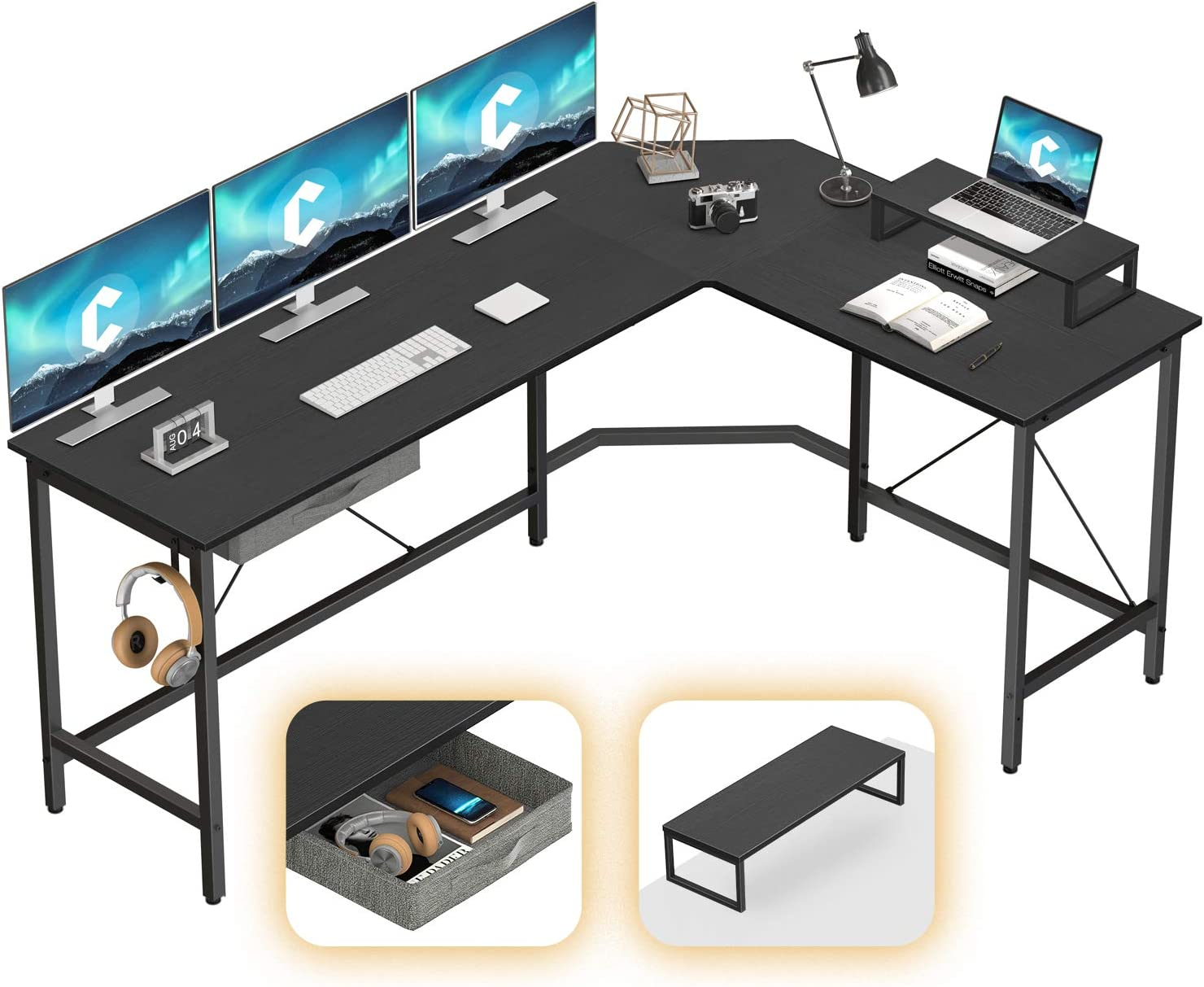 CubiCubi L-Shaped Desk Computer Corner Desk, Home Office Gaming Table, Sturdy Writing Workstation with Small Table, Space-Saving, Easy to Assemble, Black
