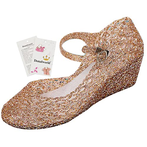 8ddc16b716bd Donalworld Women Round Toe Jelly Glitter Wedge Webbed Plastic Rain Sandals  Pink  Amazon.ca  Shoes   Handbags