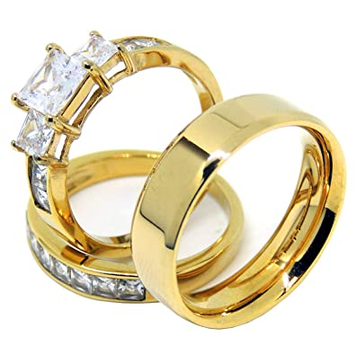 Amazon.com: Lanyjewelry - Anillo de compromiso para pareja ...