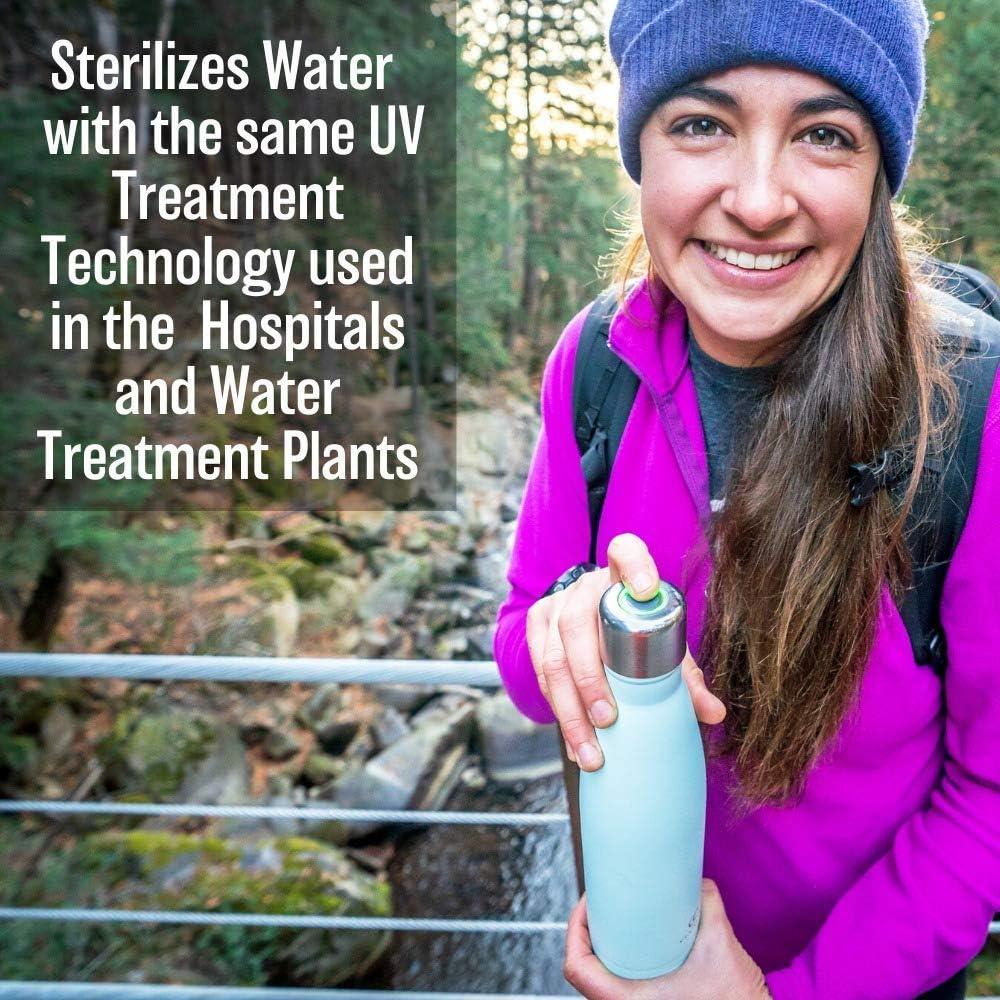 CrazyCap UV-Trinkflaschenreiniger inkl sicheres Trinken von Wasser aus Wasserhahn Bachl/äufen International Travel selbstreinigende Flasche Premium CC Edelstahl Isolierflasche zur Wasserreinigung