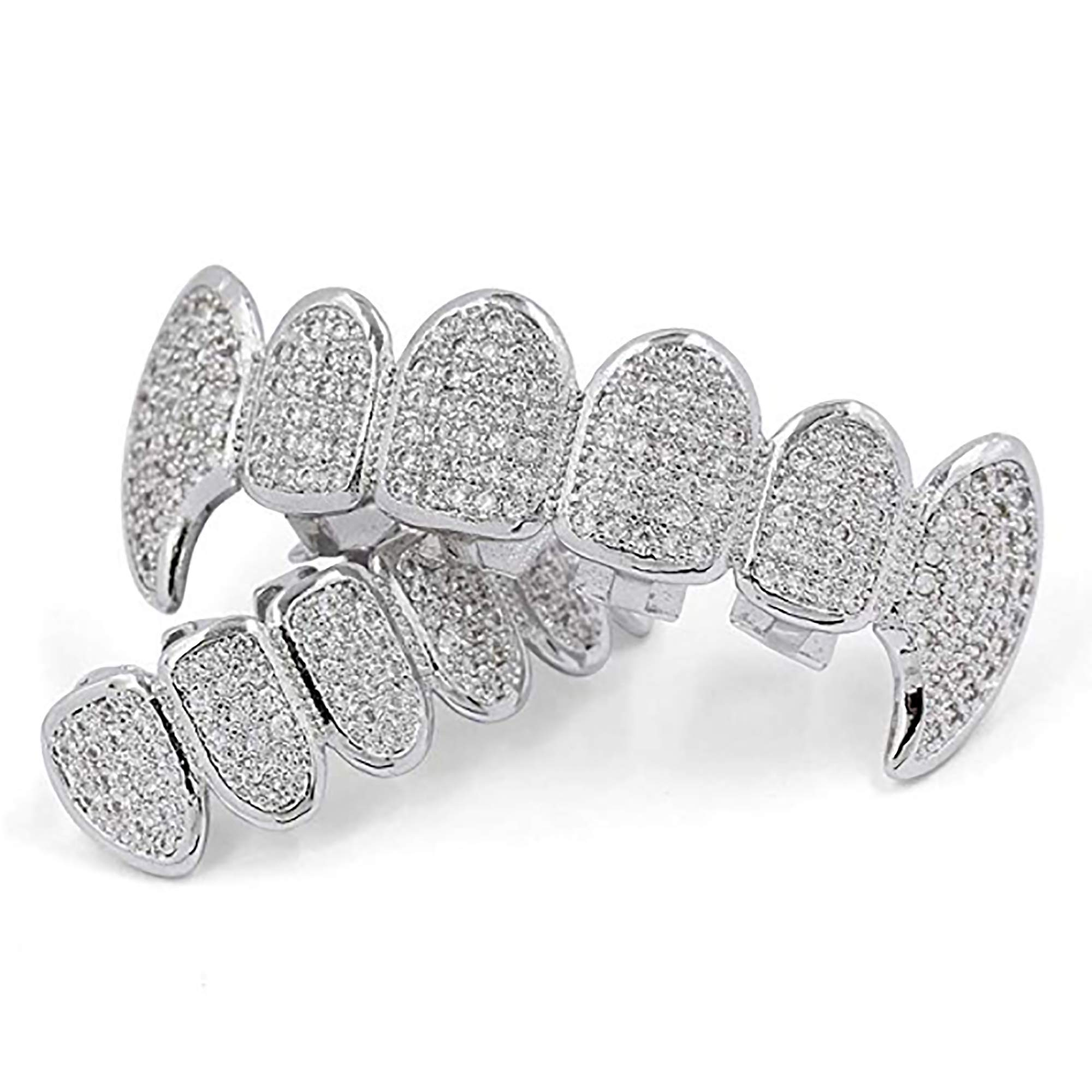 18K White Gold Plated CZ Cluster Custom Slugs Top Bottom Fangs Vampire Grillz Mouth Teeth Grills Set - Grillz, Teeth Cap, Iced Out Grillz (Top & Bottom Set) by Zilver