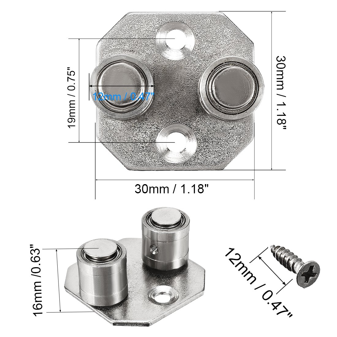 uxcell 47mmx18mm 10mm Shaft Diamter Stainless Steel Lower Guide for Sliding Door Floor a18030600ux0029
