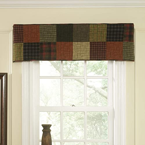 Donna Sharp Valance – Woodland Square Lodge Decorative Window Treatment with Patchwork Pattern