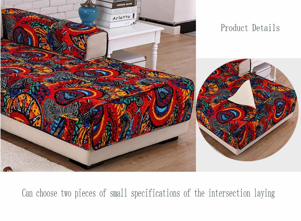 ASL Cojín de sofá de tela, algodón doméstico Cojín de sofá de cuatro estaciones Sala de estar antideslizante Cojín de sofá de estilo étnico Combinación de ...