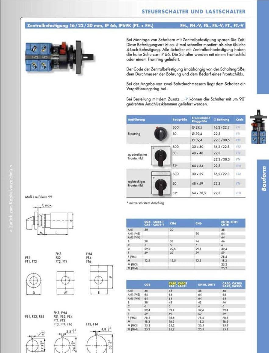Kraus /& Naimer CA10 A401-600 FT2 Motorschalter Wendeschalter 3-polig 1-0-2