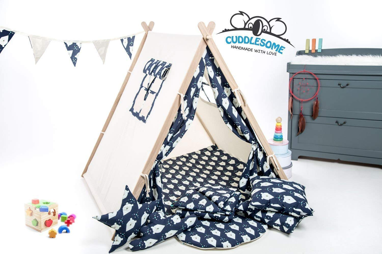 Navy bears teepee tent for children by Cuddlesome