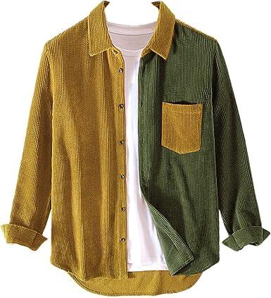 Algodón Pana Camisa Hombres Contraste Color Patchwork ...