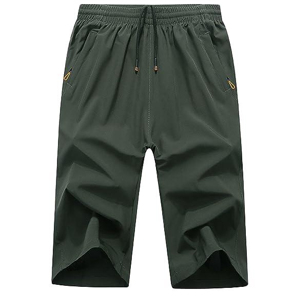23cc4d6a3ca28 LEOCLOTHO Short Homme Grande Taille Eté Casual Elastique Cordon de serrage  Sport Pantacourt, Armée Verte