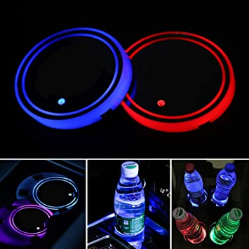 Accarparts LED Car Cup Holder Lights Luminescent Cup Pad Interior Atmosphere Lamp Decoration Light 2PCS Skull Logo Coaster with 7 Colors Changing USB Charging Mat