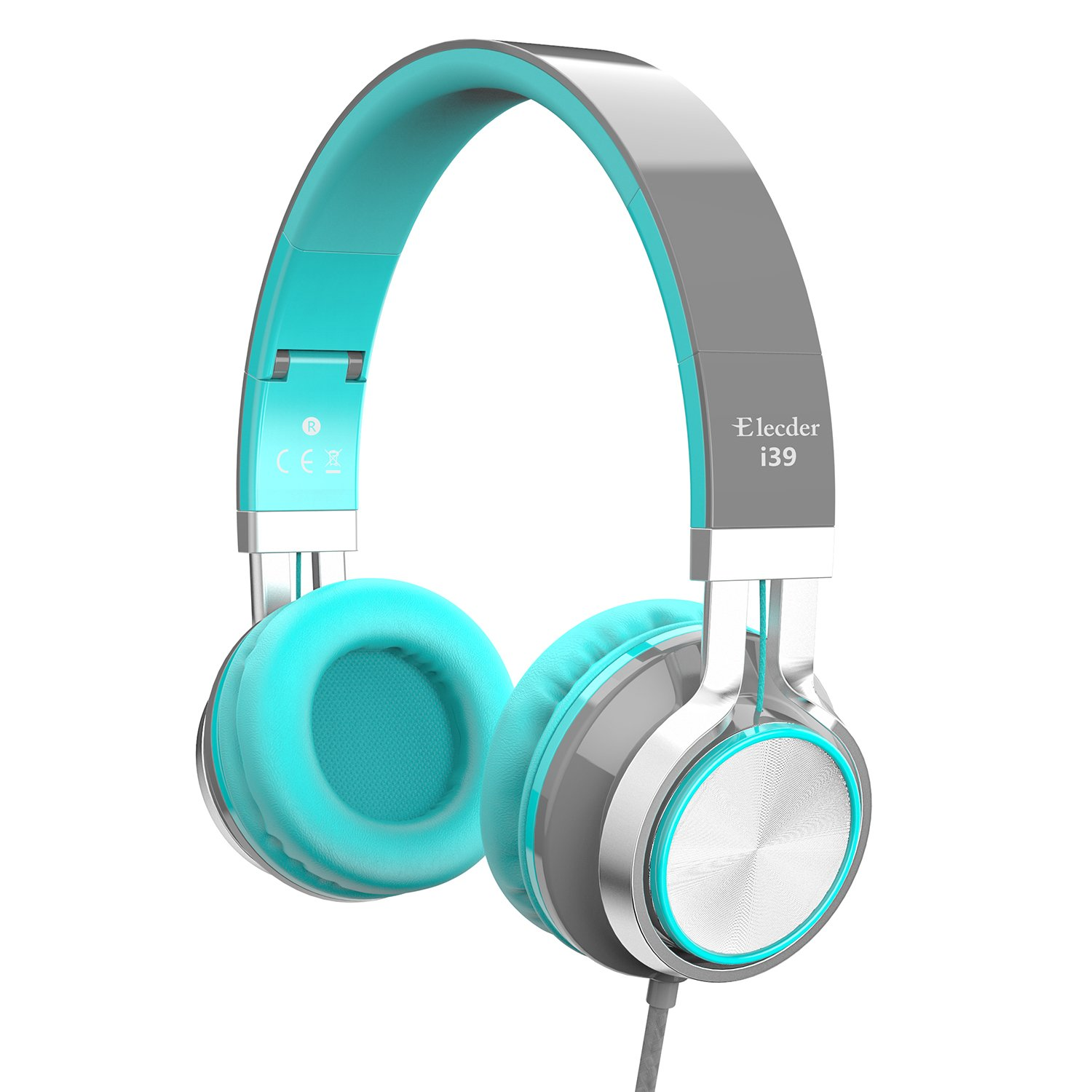 Elecder i39 Headphones with Microphone for Kids, Children, Girls, Boys, Teens, Adults, Foldable Adjustable Wired Over Ear Headsets for iPad Cellphones Computer MP3/4 (Gray/Mint Green)