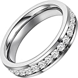 Flongo Womens Ladies Stunning Stainless Steel Clear Rhinestone 4mm Eternity Promise Engagement Band