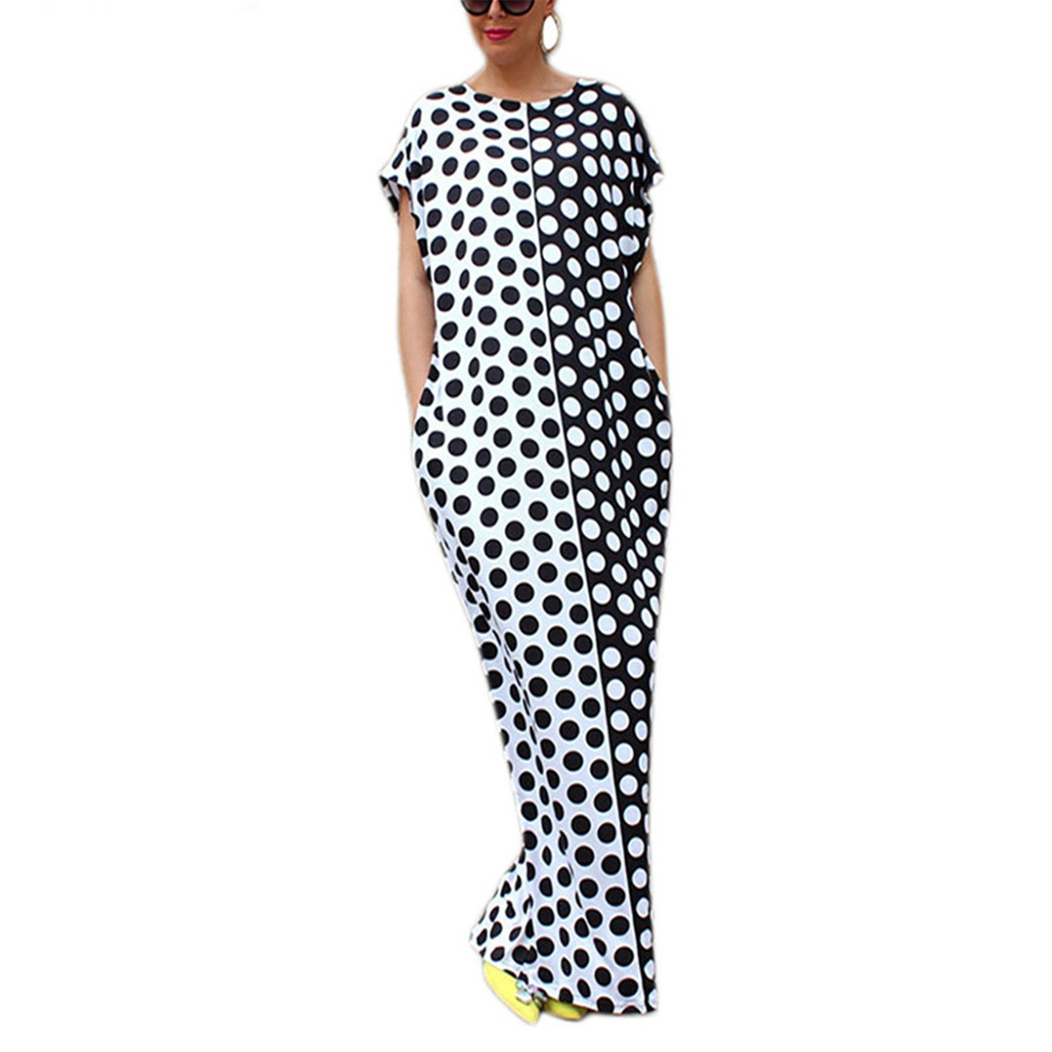 0a4c9750ee PiterNace Plus Size Boho Summer Dress O-Neck Long Maxi Dresses Black White  Polka Dot Printed Sexy Beach Dress NS8447 at Amazon Women s Clothing store
