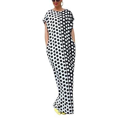 20a256e398 Image Unavailable. Image not available for. Color: PiterNace Plus Size Boho  Summer Dress O-Neck Long Maxi Dresses Black White ...