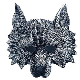Maschera Testa di Lupo Maschera in PU Halloween Copricapo di Animali Puntelli di Simulazione Pallina da Parodia,Black-OneSize