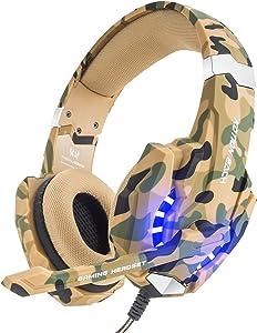 VersionTECH. Auriculares Gaming Estéreo Con Micrófono Gaming Headset Profesional Bass Over-Ear Con 3.5mm Jack,Luz LED,Bajo Ruido Compatible Para PC (Camuflaje)