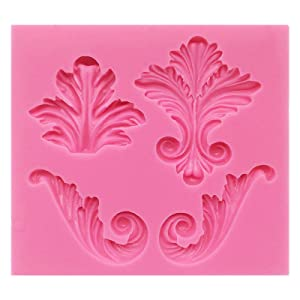 Funshowcase 4 Cavity Vintage Curlicue Lace and Scroll Silicone Mold for Cake Border Cupcake Topper Decoration, Sugar paste, Chocolate, Fondant, Resin, Polymer Clay Projects