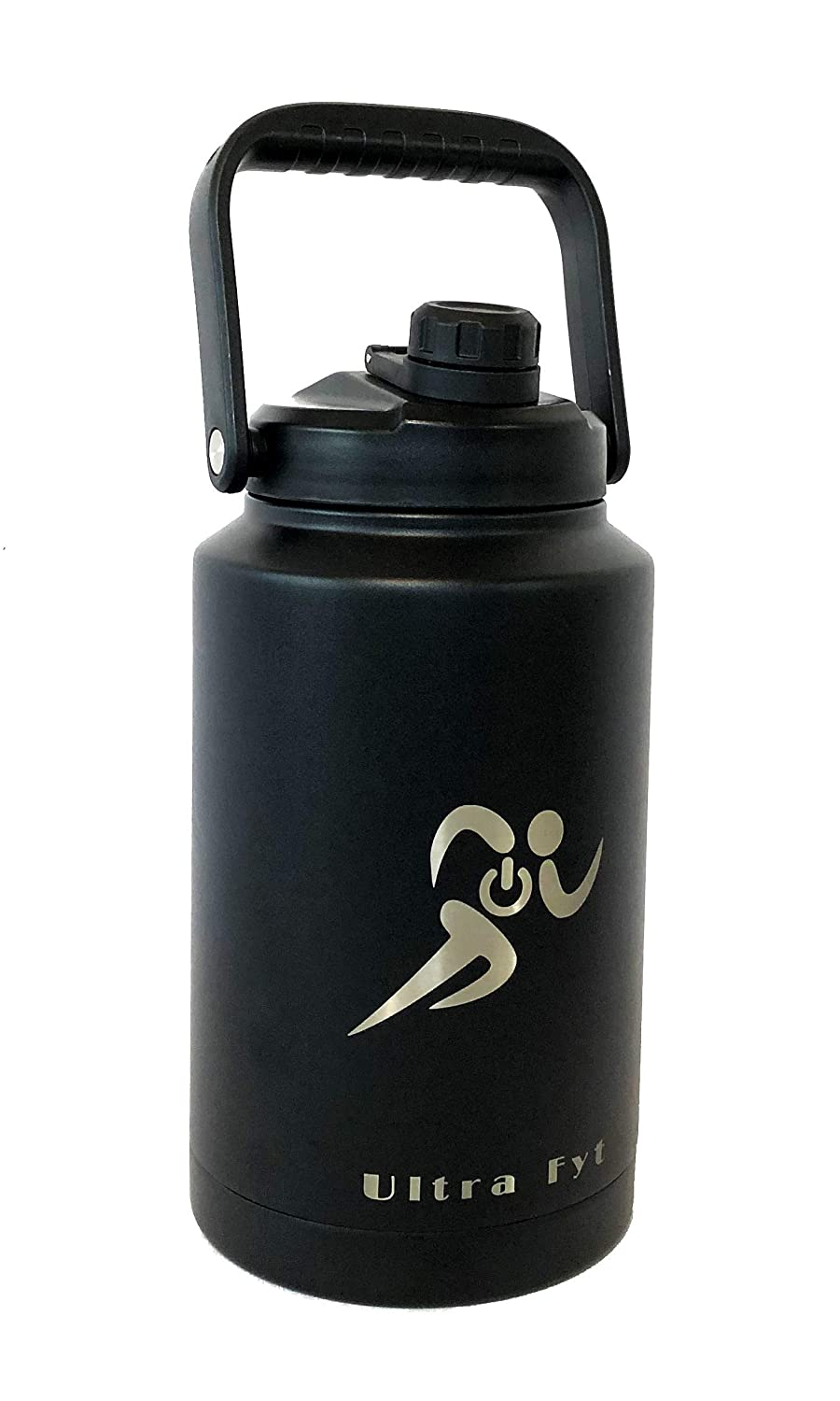 Ultra Fyt One Gallon Water Jug Vacuum Insulated Stainless Steel Wide Mouth one gallon Water bottle - Beer Growler - Reusable Fitness Workout Bottle for COLD or Hot water 128 oz water bottle (Black)