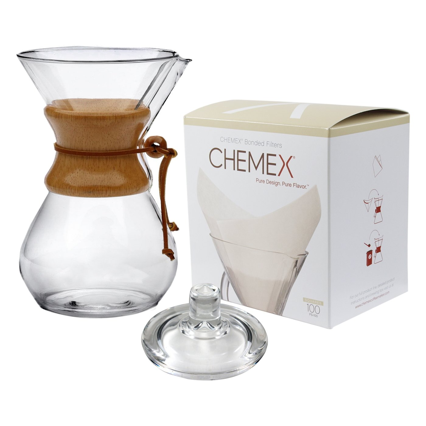 Chemex Classic Wood Collar and Tie Glass 50 Ounce Coffee Maker with Cover and 100 Count Oxygen Cleansed Bonded Square Coffee Filters