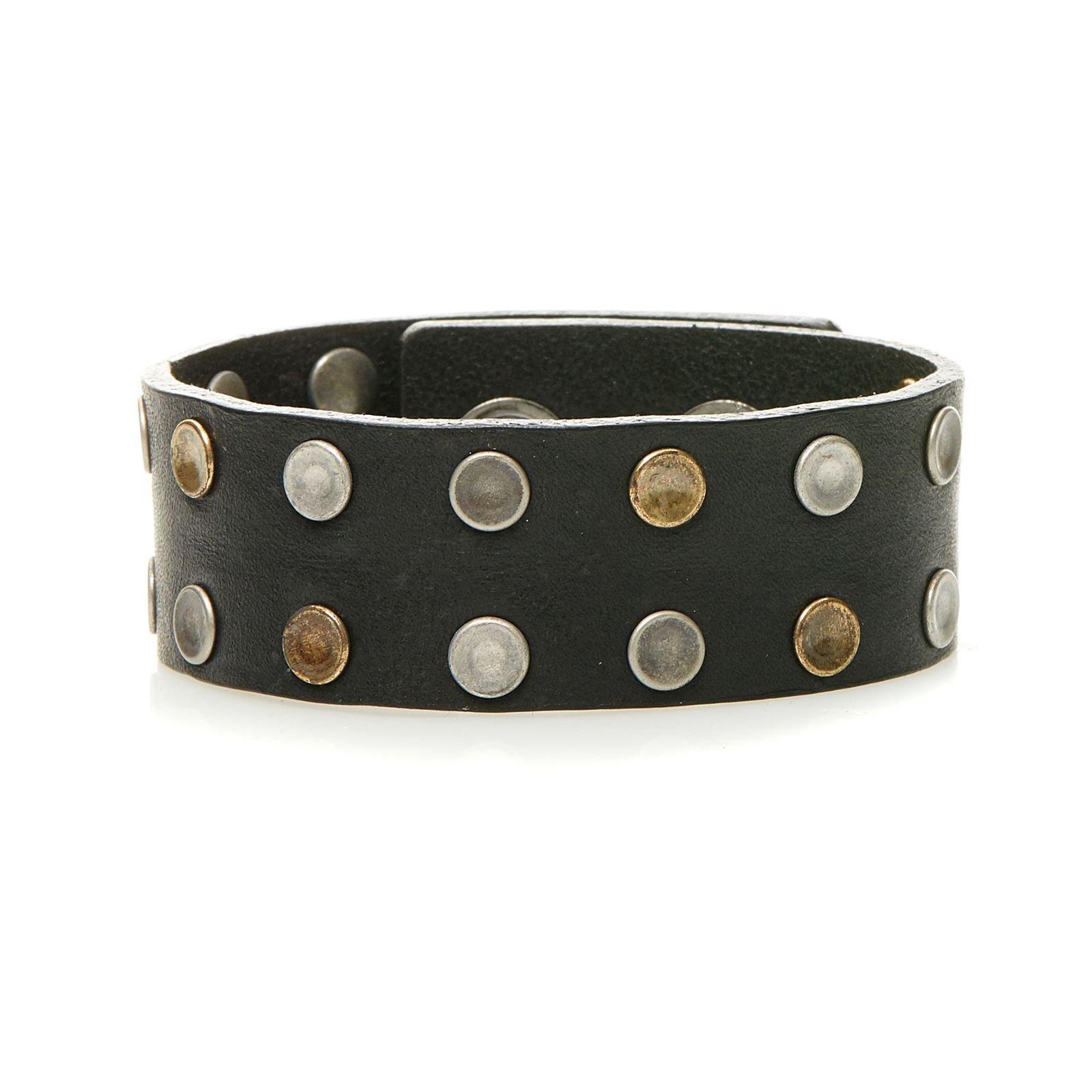 Diesel Mens ''A-DONE'' Leather Studded Cuff Bracelet, Black
