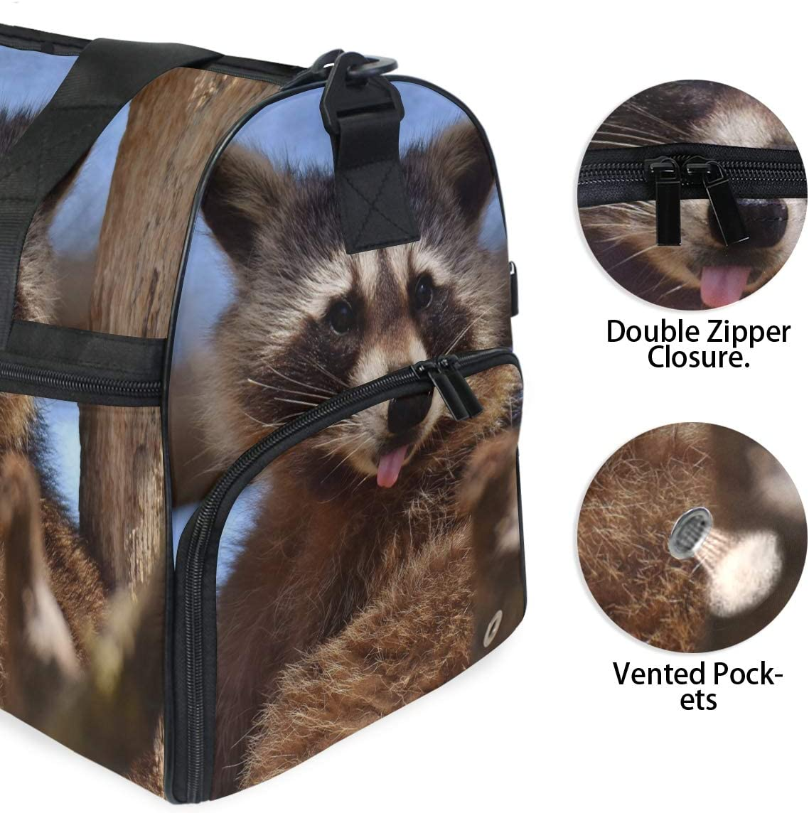 MUOOUM Cute Raccoon Tongue Sit Large Duffle Bags Sports Gym Bag with Shoes Compartment for Men and Women