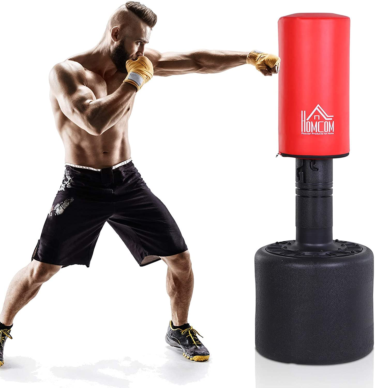 Homcom Sac de Frappe Boxe autoportant Punching Ball Hauteur r/églable /Ø 56 x 145-175 cm HDPE Rouge Noir