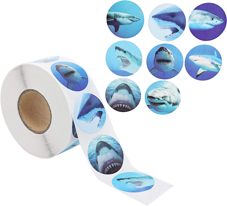 Blue Panda Shark Stickers 1000 Pack - Kids Stickers 1.5 Inch 8 Designs