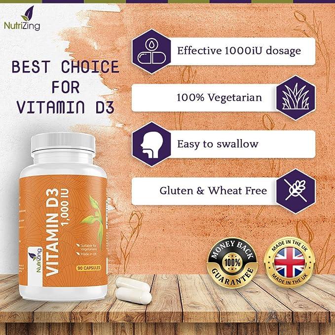 NutriZing suplemento de vitamina D3 ~ alta resistencia 1000 IU ~ para las mujeres y los hombres ~ hecho en el Reino Unido ~ premium Fuente de vitamina ...