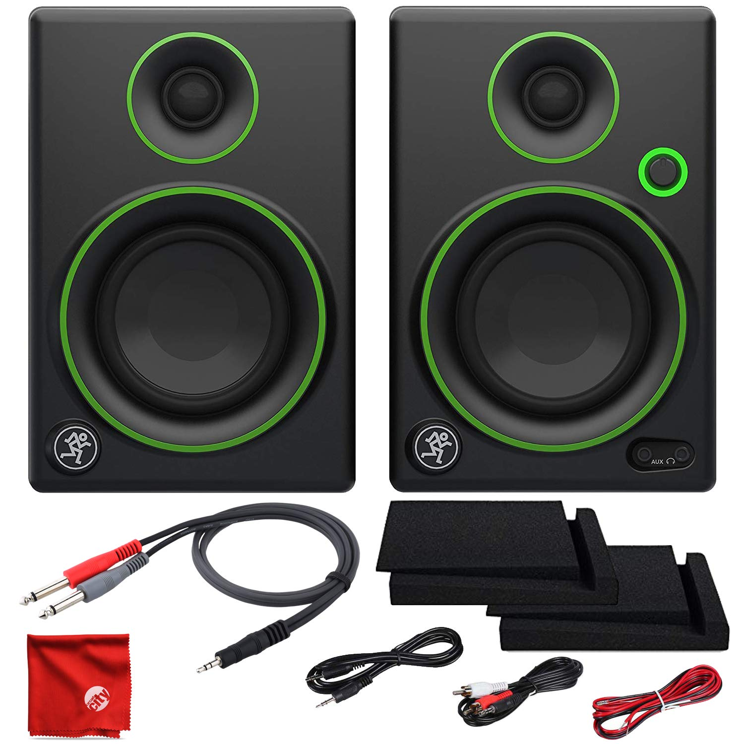 Mackie CR3 3in Creative Reference Multimedia Monitors Bundle with Foam Isolation Pads and Pro Cable Kit