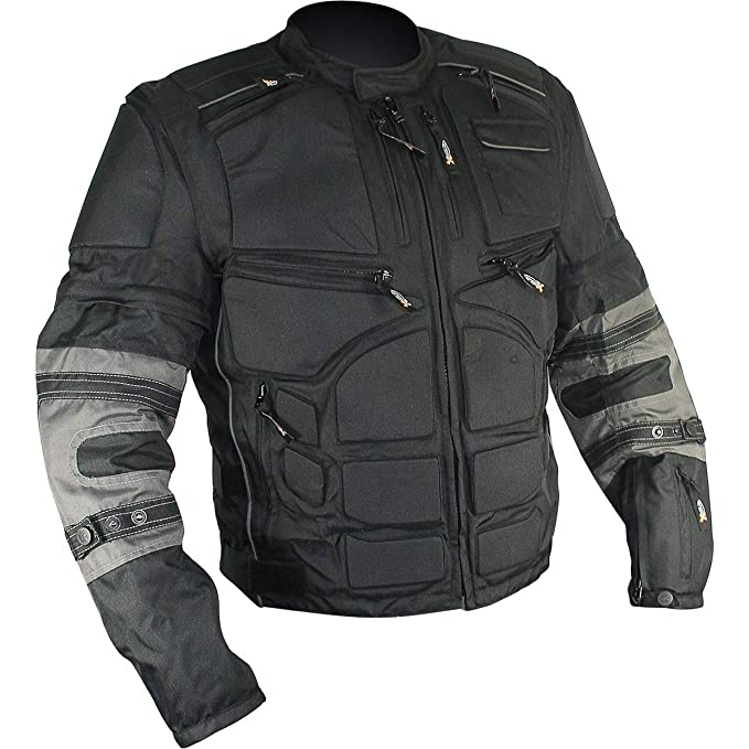 Xelement CF5050 Morph Mens Black and Grey Cordura Armored Jacket with Removable Sleeves - 3X-Large