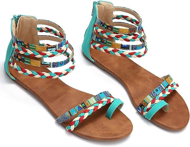 Camfosy Sandales Femmes Plates Eté, Chaussures Été Tongs Plage Nu Pieds à Talons Plats Claquettes Plae Semelle Confort Bride Arrière 2020 Noires