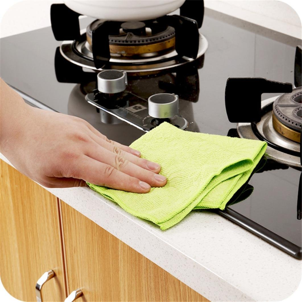 LiPing Microfiber Dish High Efficient Anti-grease Cloth Kitchen Cloths Cleaning Cloths,9.75'' x 9.75'',Machine Washable and Ultra Absorbent Kitchen Bar Towels (A)