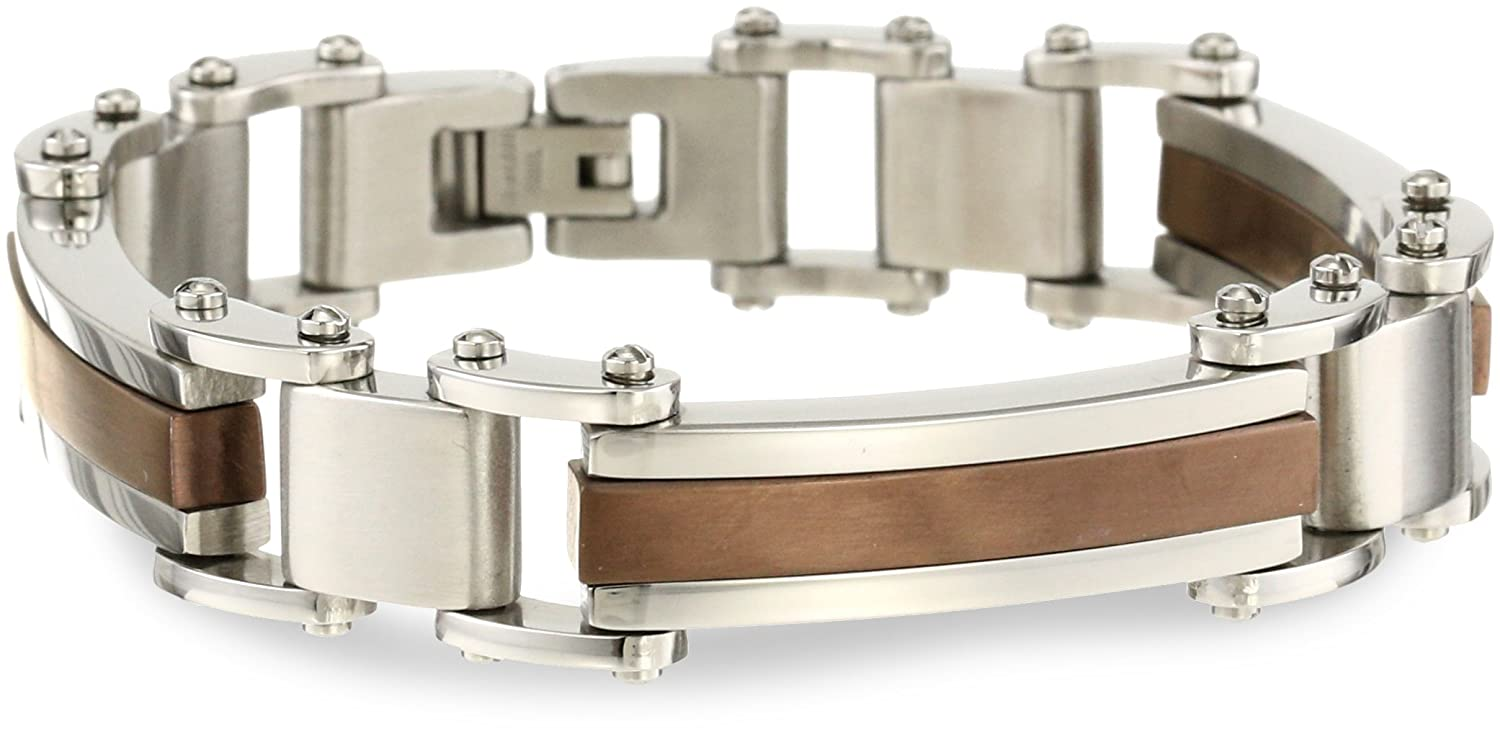 Cold Steel Stainless Steel and Brown Immersion Plate Wide Classic Men's Bracelet ST972